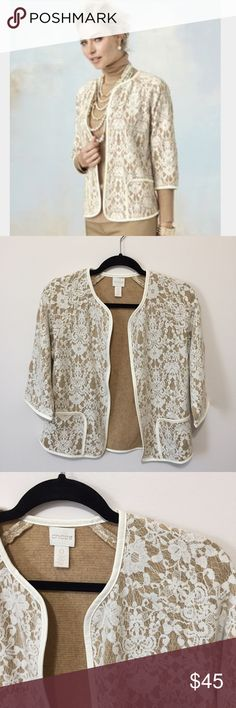 "Chicos  BONDED LACE HENRIETTA CARDIGAN RETAIL $129 The newest way to wear lace? This elegant cardigan. Faux-leather trim gives it extra polish. Length: 24"". Polyester, acrylic & cotton. Hand wash.  Size tag says 0 = Size 4 Measurements according to brand: Bust 34.5, waist 29, hips 37 Chico's Jackets & Coats"