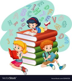 Three kids reading books vector image on VectorStock Kids Reading Books, Kids Writing, Doodle Girl, Book And Frame, Classroom Birthday, School Murals, School Clipart, Art Drawings For Kids, Happy Birthday Sister