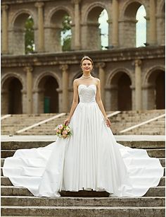 A-Line Strapless Asymmetrical Satin Made-To-Measure Wedding Dresses with Side Draping / Button by LAN TING BRIDE / Open Back