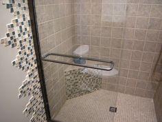 Tile extending outside the shower.