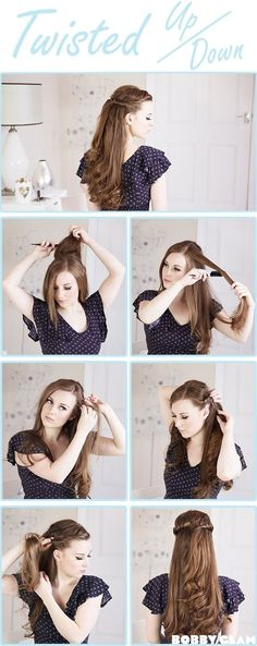 Twisted Half Up Half Down Hair Tutorial: Easy Wedding Hairstyles