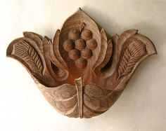 Wall candlestick Vine LeafOOAK  wood carving wall by dimitarmanev, $65.00
