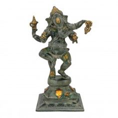 "12"" Brass Antique Finish Dancing Ganesha Statue Hindu God Idols"