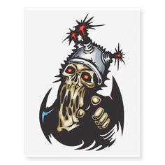 Evil Cyborg Skull Temporary Tattoos