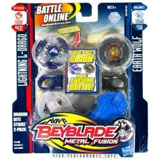 NEW HASBRO BEYBLADE METAL FUSION TOPS LIGHTNING L-DRAGO EARTH WOLF 2 SET TOUPIES