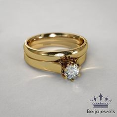 Women's 1.00 Ct Round Diamond Wedding Bridal Set Engagement Ring 14K Yellow Gold #Beijojewels #Solitaire #WeddingEngagementPartyWear
