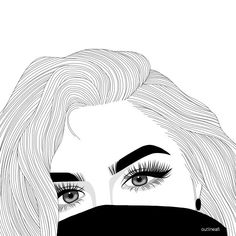 Trendy Cool Art Projects For Teenagers Ideas Tumblr Girl Drawing, Tumblr Sketches, Girl Drawing Sketches, Girl Sketch, Outline Drawings, Cute Drawings, Tumbler Drawings, Teenage Drawings, Tumblr Outline