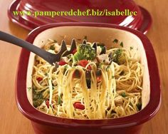 """Summertime Spaghetti in Pampered Chef's Deep Covered Baker.  Contact me for the recipe or to purchase the """"Magic Pot."""""""