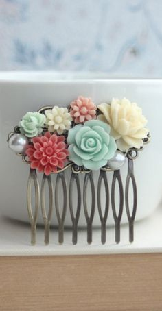 Items similar to Mint Green Rose, Coral, Ivory, Pearl Collage Flower Hair Comb. Coral and Mint Wedding. Sis on Etsy Flowers In Hair, Flower Hair, Fashion Collage, Ivory Pearl, Green Rose, Bridesmaid Gifts, Bridesmaids, Bridal Accessories, Marie
