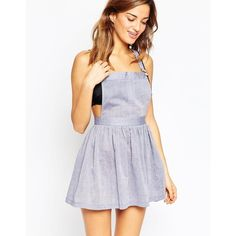 ASOS Chambray Dungaree Beach Dress ($51) ❤ liked on Polyvore featuring dresses, chambray, strap dress, asos dresses, strappy dress, pinafore dress and chambray dress