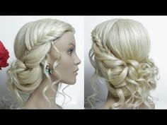 Bridal hairstyle for long hair tutorial.  Prom Updo. - YouTube