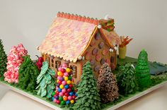 Hansel & Gretel Gingerbread House by Lorrie Gauthier; Visit www.ultimategingerbread.com for gingerbread patterns, pictures, recipes and contests.