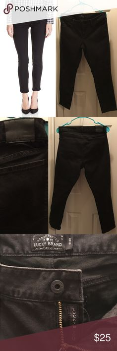 "Lucky Black Denim Lucky Brand black ""Gemma Capri"" jeans. Measure 15.5"" across at waistband and have a 26"" inseam (crop fit). Gently used condition. No stains or holes. 63% cotton/35% polyester/2% spandex. Machine wash. Lucky Brand Jeans Ankle & Cropped"