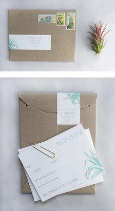 belt label on kraft mailer // minimal + modern tulum wedding invitations // succulent wedding invite – Charm & Fig