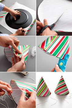 9 New Ways to Repurpose Wrapping Paper Make paper party hats out of repurposed leftover Christmas wrapping paper. The post 9 New Ways to Repurpose Wrapping Paper appeared first on Paper Diy. Diy 1st Birthday Hat, First Birthday Parties, Elmo Birthday, Dinosaur Birthday, Birthday Outfits, Funny Birthday, Birthday Ideas, Happy Birthday, Paper Gifts