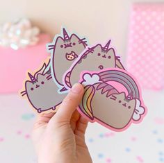 These holographic stickers from are almost gone! Visit link in bio to see how you can get these cuties! Gato Pusheen, Pusheen Cute, Pusheen Stuff, Kawaii Stickers, Cute Stickers, Pusheen Birthday, Unicorn Pictures, Cute Desk, Kawaii Cute