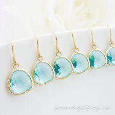10% OFF SET of 5 Aqua Gold Drop Earrings, Tiffany Blue Dangle Earrings, wedding earrings, bridesmaid earrings, bridal jewlery, mom gift on Etsy, $81.00
