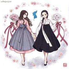 Korean Anime, Korean Art, Korean Traditional Dress, Traditional Dresses, Korean Dress, Korean Outfits, Female Character Design, Character Art, Asian Fashion