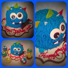 Lil monster cake wish coordinating  cupcakes! Such a fun party theme! Perfect for any lil monster!   www.facebook.com/finishingtouchesbyliz   #finishingtouchesbyliz #cake #monster #fun #birthday