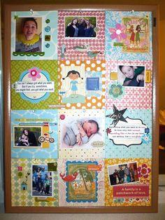 diy photo collage gift for mom using large corkboard Cork Board Projects, Diy Cork Board, Craft Projects, Projects To Try, Project Ideas, Cork Boards, Craft Ideas, Photo Collage Gift, Simple Pictures