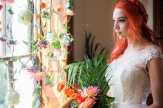 Red-orange locks unleash your inner fiery bridal goddess. | 23 Photos That Prove That Colorful Hair Is The Best Wedding Accessory