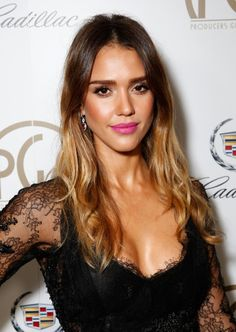 jessica alba fresh, glowing neutral face with a pop of color lip