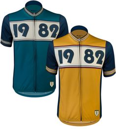 The Aero Tech 1982 Vintage Sprint Cycling Jersey has a retro look, but with the fabrics and technology of today's cycling apparel. The 1982 jersey come with full zipper, pockets on the back, and is available in two colors, mustard and teal. Women's Cycling Jersey, Cycling Jerseys, Cycling Equipment, Cycling Bikes, Sports Jerseys, Vintage Cycles, Vintage Bikes, Vintage Jerseys, Camisa Polo