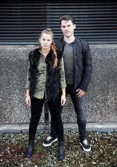 Outfit der Woche: Military-Herbst-Look! - style by mensing Joanne: Hemd: Rich&Royal – Fellweste: Gipsy – Jeans: Only // Jost: Lederblouson: Gipsy – Pullover: Boss Orange – Jeans: Mavi #fashion #ootw