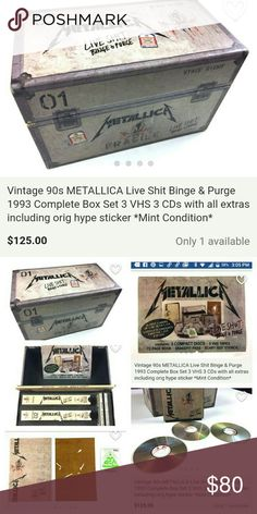 Metallica Binge & Purge Set Collectors Item! 1990 Vintage set. Pics describe product. Any questions please feel free to ask. This is a one of a kind set. Hubby is going to kill me, kick my butt, or divorce me over this! Sits in our closet, collecting dust! Still in mint condition. Metallica Band Other