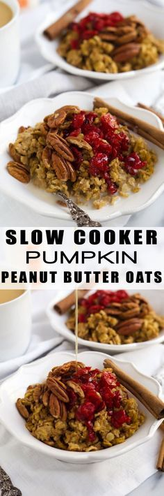 Slow Cooker Pumpkin Peanut Butter Oatmeal is super simple and loaded with pumpkin, peanut butter, oats, cinnamon and touch of brown sugar for the perfect fall breakfast!