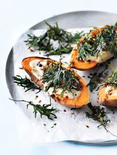 Baked Sweet Potato with Hummus + Kale | Donna Hay