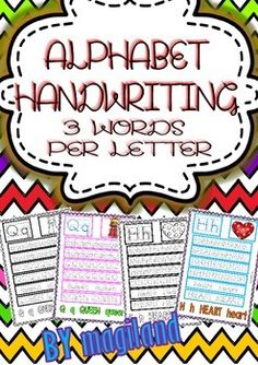 Alphabet Handwriting Worksheets (3 Words per Letter)