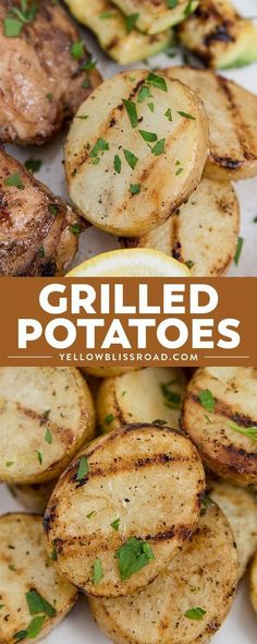 These Grilled potatoes are so simple and easy. Garnished with parsley and lemon, they will become your new favorite summer side dish! Barbecue Recipes, Grilling Recipes, Cooking Recipes, Vegan Grilling, Yummy Recipes, Grilling Chicken, Dinner Recipes, Vegetarian Barbecue, Barbecue Sauce