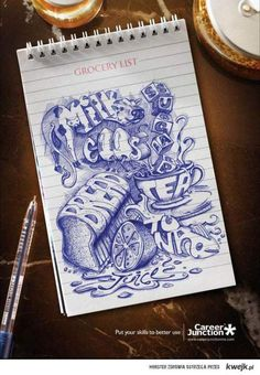 The new way to write your Grocery List! Awesome pen work