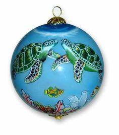 Sea Turtle ornament, hand painted Hawaiian Christmas ornament, Turtles Ornament - Mauiby Design
