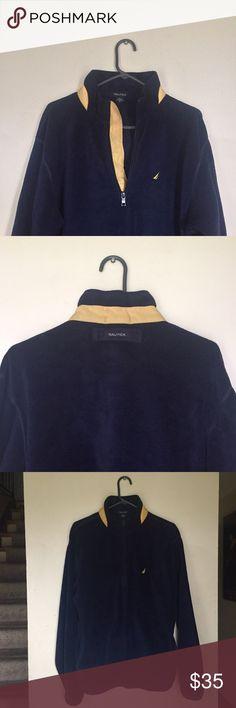 Nautica Fleece Pullover Jacket Deep blue fleece with yellow accents. Warm and comfortable! Nautica Jackets & Coats Lightweight & Shirt Jackets