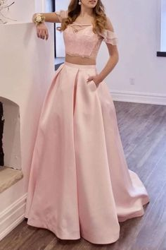 Buy Two Piece Off the Shoulder Blush Pink Prom Dresses with Pockets, Long Lace Prom Gowns online.Shop short long ombre prom, homecoming, bridesmaid evening dresses at Couture Candy Cocktail party dresses, formal ball gowns in ombre colors. Lace Prom Gown, Long Prom Gowns, Evening Dresses, Long Dresses, Homecoming Dresses, Blush Pink Prom Dresses, Girls Dresses, Prom Dresses With Pockets, Outfit
