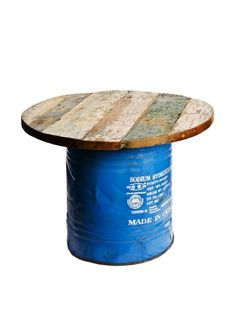 Foreign Affairs Coffee Table Hipster, Recycled Oil Drum Base with Reclaimed Boat Wood Top