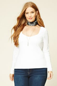 Forever 21+ - A knit top featuring a sweetheart neckline and long sleeves.