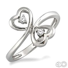 1/20 Ctw Round Cut Dual Heart Diamond Ring in 14K White  Gold #valentinesday
