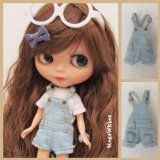 Neo Blythe Doll Clothe Dress Outfit - Cute Washed Denim Short Jumpsuit