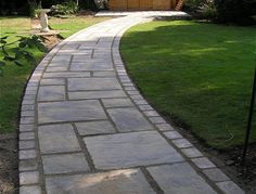 Bayleaf Garden Services - York stone curved path - Another! Unique Garden, Easy Garden, Natural Garden, Front Garden Path, Front Gardens, Corner Garden, Side Yard Landscaping, Landscaping Ideas, Sidewalk Landscaping