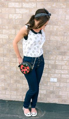 Lady Bug Novelty Purse - High-waisted Jeans - Panda Flats - Panda Top - Polka Dot Headband