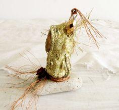 Art Doll Small fantasy Art Doll Gold Crystal Bead by WithAllMyArt, $8.00