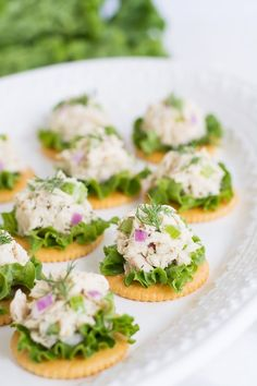 Tuna Salad on Crackers - Garnish & Glaze