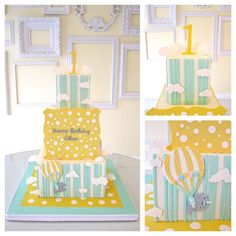 Carnival First birthday party cake by A Wish & a Whisk Cakes.