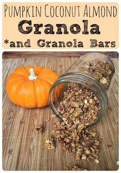 Pumpkin Coconut Almond Granola and Granola Bars