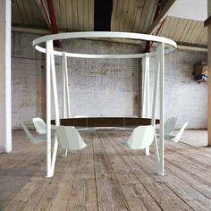 Una mesa con un diseño muy exclusivo gracias a las sillas flotantes. La reunión con nuestros amigos es en una experiencia única.