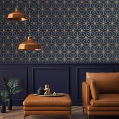 I Love Wallpaper Astral Metallic Geometric Wallpaper Navy Blue Gold - Wallpaper from I Love Wallpaper UK