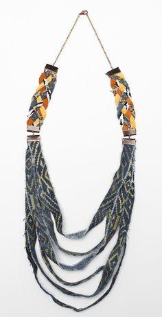 Tiered Denim Ceremony Necklace.